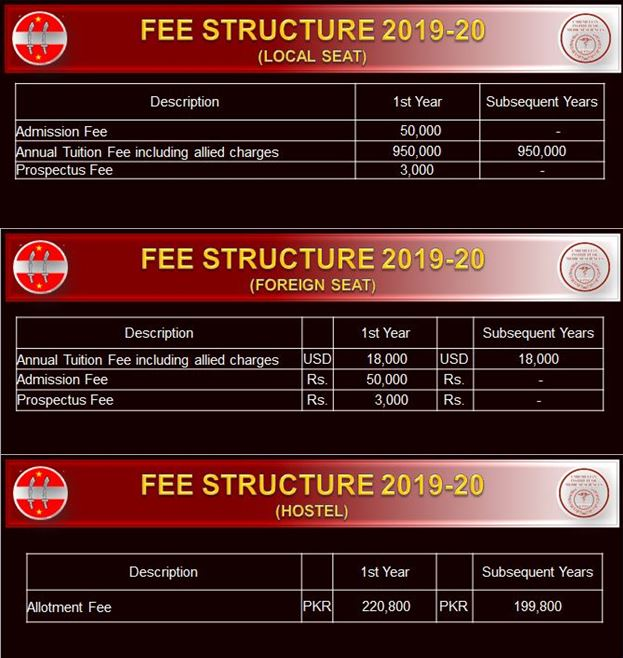 Fee Structure for All Seats