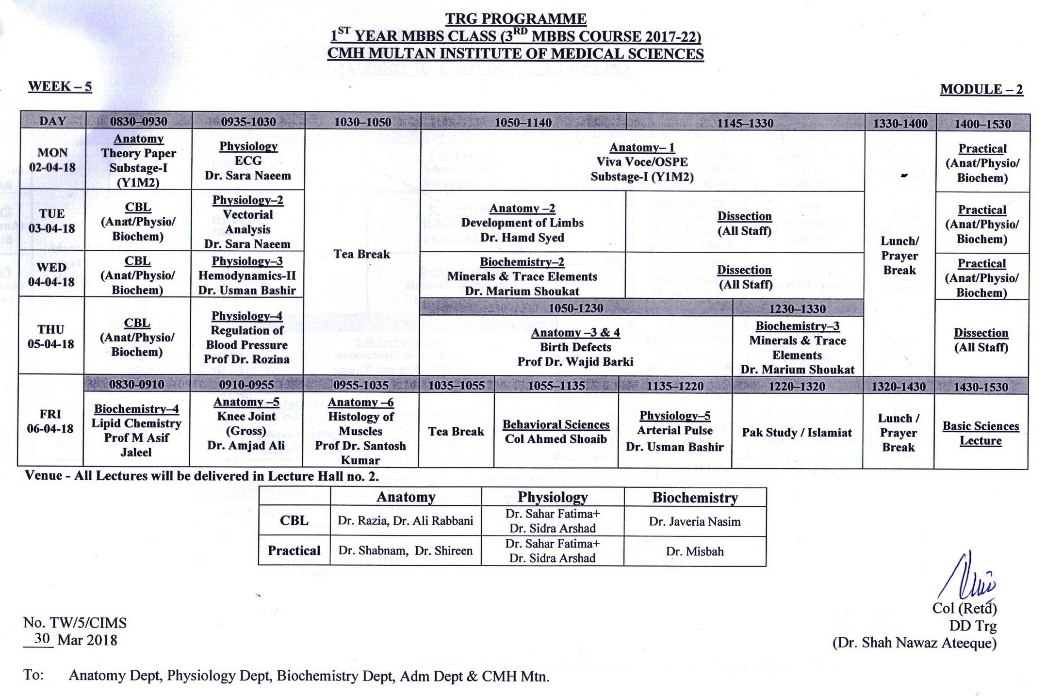1st Year MBBS Weekly Training Program 2017 – 18 | CIMS